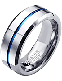c6fe8e1e0d54 Zysta Mens 8mm High Polish Silver   Blue Stripe Tungsten Carbide Rings  Engagement Wedding Ring Comfort