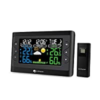 Renogy Dr. Prepare Digital Color Wireless Weather Station Thermometer with Clear LCD, Accurate Indoor Temperature and Humidity, Dual Alarms, and Battery Backup, Black ...