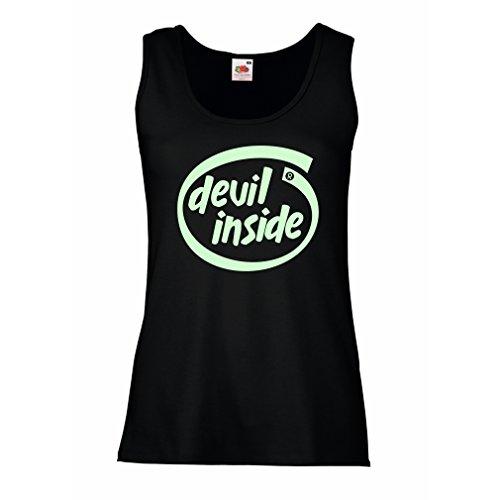 lepni.me Femme Débardeur sans mancheDevil Inside - Cadeau de Joueur Cool, Slogan Drôle, Trucs de Jeu Noir Fluorescent