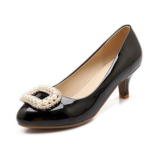 AgooLar Femme Couleur Unie à Talon Correct Tire Rond Chaussures Légeres Noir
