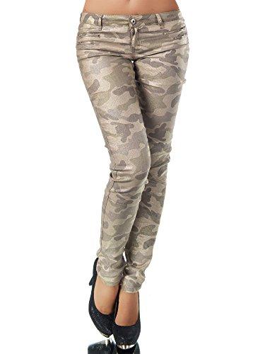 L521 Damen Jeans Hose Hüfthose Damenjeans Hüftjeans Röhrenjeans Leder-Optik, Farben:Camouflage-Braun;Größen:36 (S)