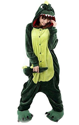 LATH.PIN Jumpsuit Tier Karton Fasching Halloween Kostüm Sleepsuit Cosplay Fleece-Overall Pyjama Schlafanzug Erwachsene Unisex Lounge Nachtwäsche S/M/L/XL (M, Dino)