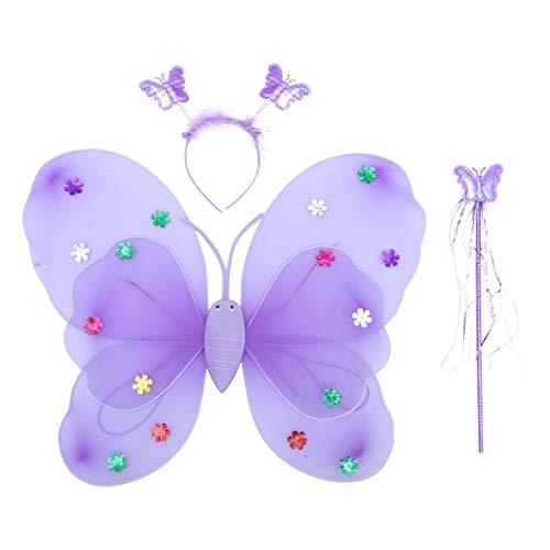 Amosfun 3 Stücke Mädchen Fee Prinzessin Set Schmetterlingsflügel Doppelschicht Stirnband und Fee Zauberstab für Kinder (Lila) -