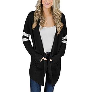 ADESHOP Women's Outdoor Softshell Jackets, Women Coat, Women Striped Long Sleeve Knitted Sweater Pockets Long Cardigan Top Coat Outwear(Black, M)