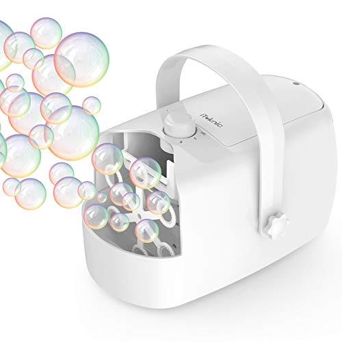 iTeknic Seifenblasenmaschine Tragbar Bubble Maschine Rauscharm Automatischer Seifenblasen Maschine Batteriebetrieben oder Stecker für Hochzeit, Geburtstagsfeier und Kinder Party -