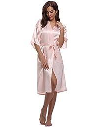 Aibrou Kimono Mujer Batas Largas Lenceria de Aspecto Brillante
