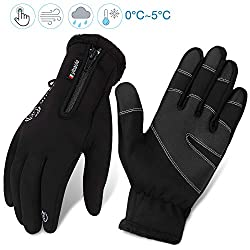 Cycling gloves men winter waterproof cycling gloves men women touchscreen gloves outdoor windproof training gloves full finger cycling sport gloves with zip | cycling running