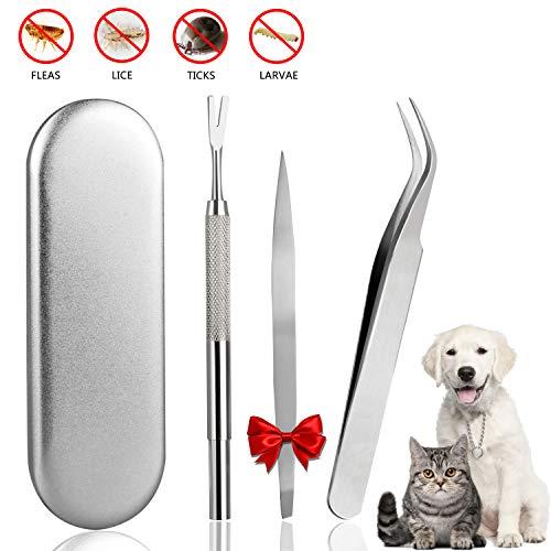 Emooqi Zeckenzange, Zeckenpinzette Edelstahl Premium Set Zeckenentfernung Problemlos Zecken Entfernen für Haustier Hunde,Katzen