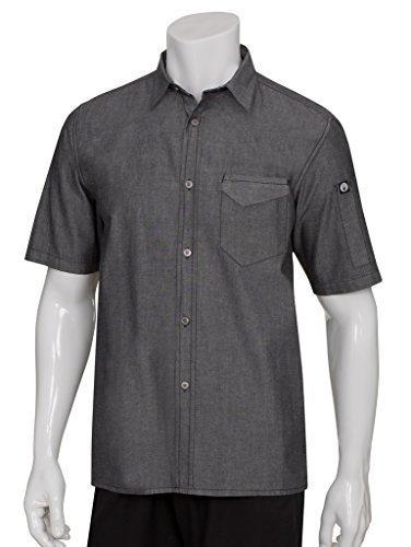 Chef Works SKS002-BLK-S Detroit Short-Sleeve Denim Shirt, Black by Chef Works -