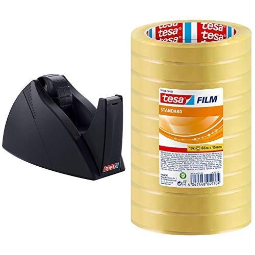 tesa Tischabroller, professionelles Modell, für große Rollen, schwarz & tesafilm Klebeband, Großrollen, Standard, 10 Rollen, 66m x 15mm