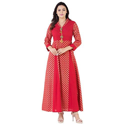 Khushal Cotton Gold Printed Long Lenght Anarkali Designer Dress With Beautiful Brotch...