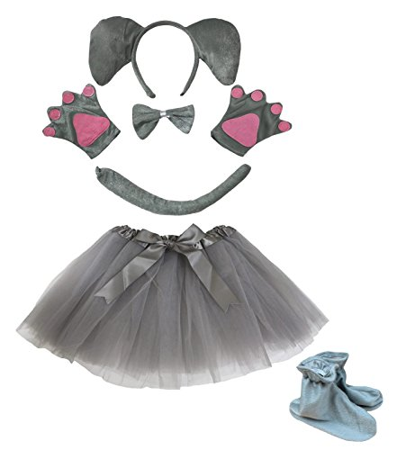 Elefant Stirnband Schleife Schwanz Handschuhe Schuhe Grau Tutu 6Mädchen Kostüm für ()