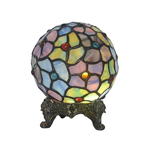 Kugelförmige Tischleuchte spezielle Farbe Glas Nachtlicht Kupfer geschnitzten Basis kreative dekorative Ornamente Tischlampe Schlafzimmer Nachttischlampe (Ornament Schwere Glas)