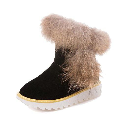 voguezone009-donna-bassa-altezza-tirare-plastica-tacco-basso-punta-chiusa-scarpe-da-neve-nero-42