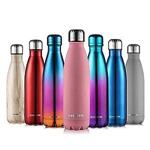 Cmxing Doppelwandige Thermosflasche 500 mL / 750 mL mit Tasche BPA-Frei Edelstahl Trinkflasche Vakuum Isolierflasche Sportflasche für Outdoor-Sport Camping Mountainbike (rosa, 750 mL)