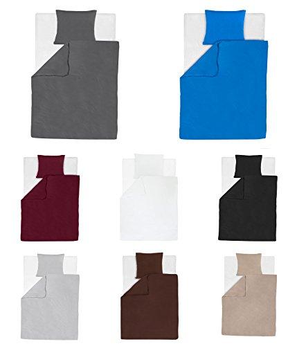 Baumwolle Jersey Bettwäsche 2-4 teilig 135x200 + 80x80 cm mit Reißverschluss in 8 Farben - 4 tlg. Set 2x135x200 + 2x80x80 cm Baumwolle Jersey Bettwäsche - Bordeaux (Bordeaux Bettbezug Set)