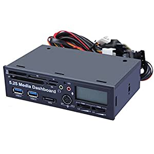"""DBPOWER® 5.25"""" Media Dashboard LCD Front Panel Card Reader Temperature display USB 3.0 with Fan Control"""