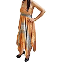 Freya Women Halter Dress Handkercheif Hem Recycled Sari Two Layered Holiday Sundresses S/M (Orange, Grey)