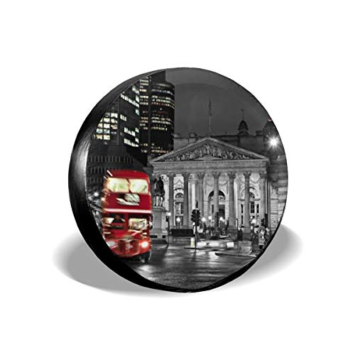 Retro Vintage British Museum And Fresh Red London Bus Of England Tire Cover Polyester Universal Spare Wheel Tire Cover Wheel Covers Jeep Trailer RV SUV Truck Camper Travel Trailer Accessories 16 inch