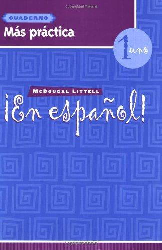 En Espanol: Level 1 Mas Practica Cuaderno par McDougal Littel