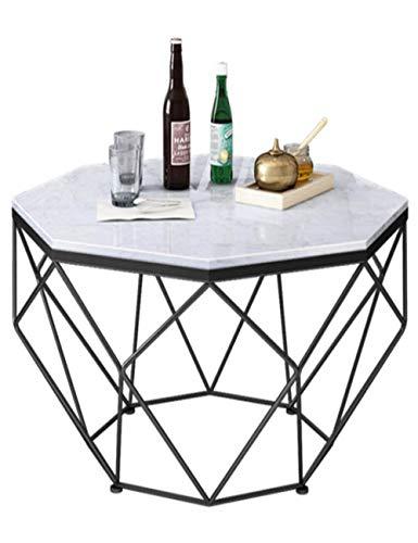 Table Basse/d'appoint en marbre, Petit Appartement, Salle de séjour Simple et Moderne, mobilier de Table en Fer forgé, Rond, Noir (57 × 57 × 45 cm)