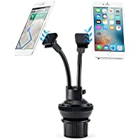 iKross 2-in-1 Car Dual Phone Cup Mount/Gel Pad Dashboard Windscreen Holder, Adjustable Magnetic Cradle Car Kit for Apple iPhone, Android Smartphones, GPS, Sat Nav, or MP3 Players - Black