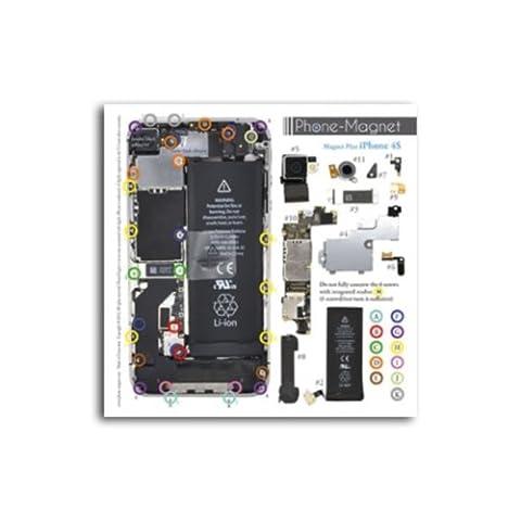 Patron magnétique d'aide au montage pas à pas pour iPhone 4S pour ne plus perdre vos vis et les petits élements lors vos réparations. Un Produit exclusif