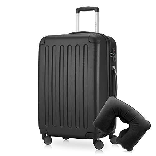 Hauptstadtkoffer - Spree Hartschalen-Koffer Koffer Trolley Rollkoffer Reisekoffer Erweiterbar, 4 Rollen, TSA, 65 cm, 74 Liter, Schwarz inkl. Reise Nackenkissen