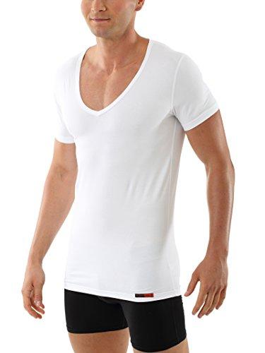 Albert kreuz maglietta intima cotone elasticizzato maniche corte scollo a v profondo deep-v hamburg bianca taglia 08/xxl