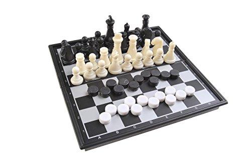 Magnetisches Brettspiel 2-in-1 (Super Mini Reise-Edition): Schach, Dame - magnetische Spielsteine, Spielbrett zusammenklappbar, 13cm x 13cm x 1, 2cm, Mod. SC5280 (DE)
