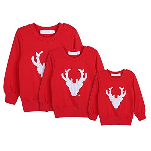 Gyratedream Sweat Femme Homme Enfants Famille T-Shirt Manches Longues Imprimé Noël Tops Christmas Sweater