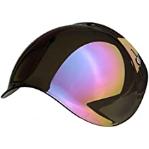 Bubble - Visera burbuja universal, con 3botones, para casco jet, homologada, compatible con cascos Biltwell, Bell, DMD, Bandit, Yam, AFX, Nolan, AGV MULTI TAGLIA Arcobaleno