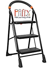 PAffy High Tensile Steel Folding Ladder with Wide Steps - 3 Steps