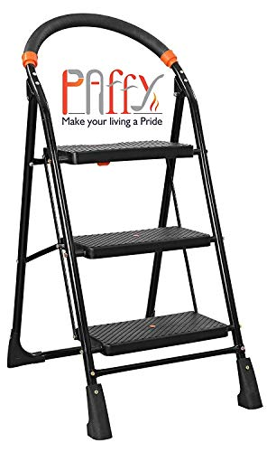 PAffy High Tensile Steel Folding Ladder with Wide Steps - 3 Steps (Clamber)