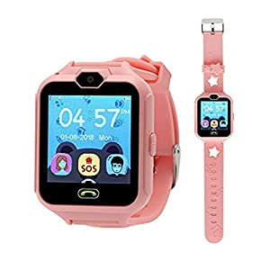 Hangang Kids Touch Screen Smart Watch GPS Touch Anti-Lost Smart Watch for Kids Girls Boys with SIM Camera Calling SOS Watch Camera Pedometer Etc Pink