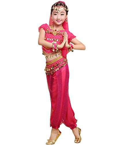 Anguang Mädchen Bauchtanz Kostüme Kinder Mode Halloween Tanz Hosenanzug Rose#6 - Indischer Tanz Kostüm Bilder