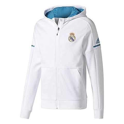 Real Madrid 17/18 - Sweat de Foot à Capuche Anthem Équipe - Blanc - taille L
