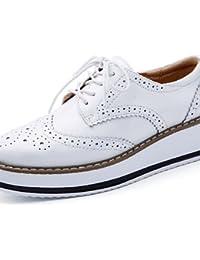 NJX/ hug Zapatos de mujer-Tacón Bajo-Tacones / Punta Cuadrada-Oxfords-Oficina y Trabajo / Vestido / Casual-Semicuero-Azul / Negro / Rosa / Blanco , pink-us8.5 / eu39 / uk6.5 / cn40 , pink-us8.5 / eu39