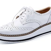 NJX/ hug Zapatos de mujer - Tacón Plano - Punta Redonda - Oxfords - Casual - Semicuero - Negro / Marrón / Beige , beige-us7.5 / eu38 / uk5.5 / cn38 , beige-us7.5 / eu38 / uk5.5 / cn38