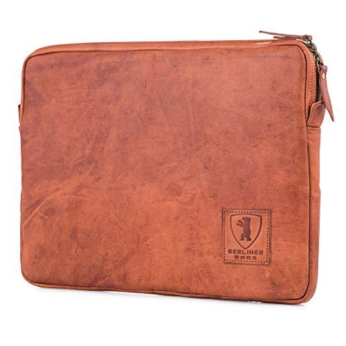 """Berliner Bags Laptop-Tasche MacBook Hülle für 15.4 – 15.6 Zoll aus Leder Wasserdichte Notebooktasche Schutzhülle mit Reißverschluss DIN A4 Braun Vintage Retro 15,4"""" 15,6"""""""