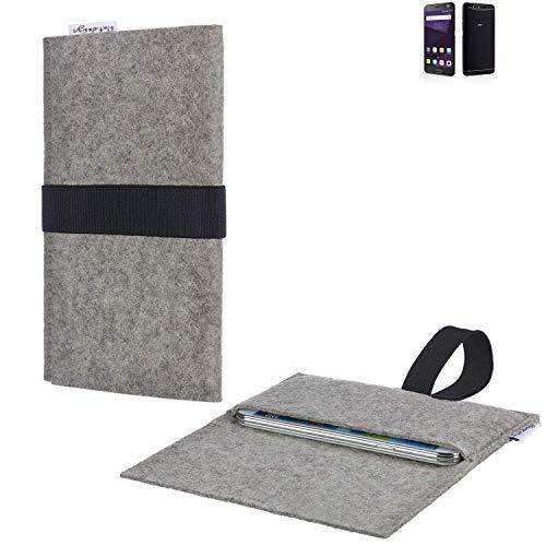 flat.design Handy Hülle Aveiro für ZTE Blade V8 64 GB passgenau Handytasche Filz Tasche fair schwarz hellgrau