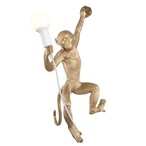 Hai Ying ♪ ® Monkey Wandleuchte Wandleuchte Rustikales Industrielles Wandwaschlicht für Dinning Rooms Bedsides Schlafzimmer Kaffee Bar Flur Flur 1 Kopf E27 110V-240V Gold B: 32 cm H: 68 cm ♪