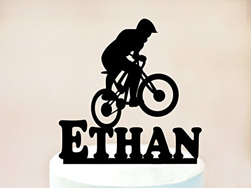 Mountain Biking Tortenaufsatz, Männer Fahrrad Rider mit Custom Name, Fahrrad, Tortendekoration, Kuchendekoration, Bike Geburtstag Party Fahrrad Dekoration, Kuchen Topper (Dekorationen Bike-party)