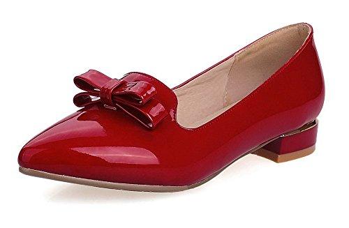 VogueZone009 Femme Pointu à Talon Bas Verni Couleur Unie Tire Chaussures Légeres Rouge