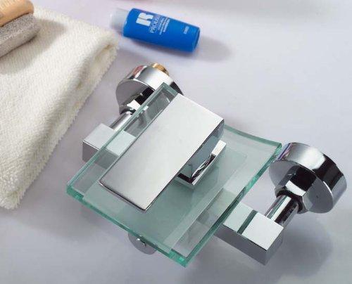 HAC24 Aufputz Wasserfall Glas Wannenarmatur Chrom | Wasserhahn Bad Silber | Einhebelmischer Badewanne | Einhebel Mischbatterie| Wannen Armatur | Badewannenarmatur