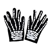 Amosfun Halloween Skeleton Gloves Skeleton Skull Gloves Fantasma Full Finger Gloves Hallowen Disfraz / Traje de Cosplay Warm Cycling Glove Deportes al Aire Libre para Unisex (Patrón Aleatorio)