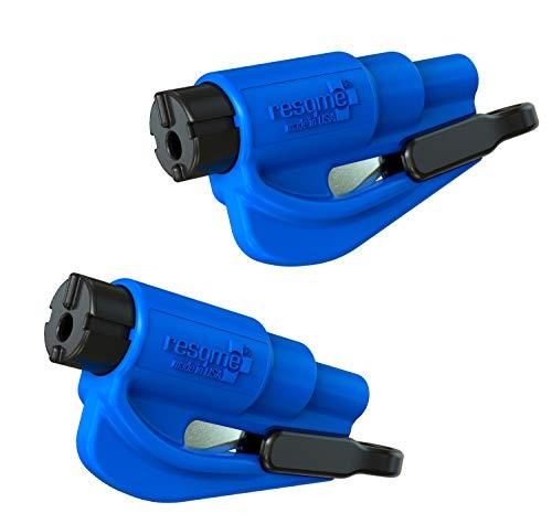 Resqme GBO-RQMTWIN-BLAU Das Rettungswerkzeug als Schlüsselanhänger, Blau, 2er-Set