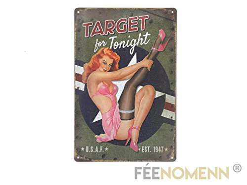 plaque-metal-deco-vintage-target-for-tonight-pinup-20x30cm