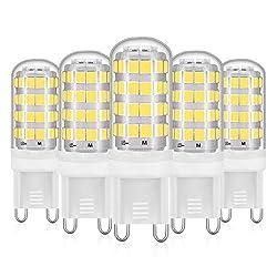 Eco.Luma G9 LED Lampe Kaltweiss, 5W Leuchtmittel Ersatz 40W 50W Halogenlampen, AC 220-240V 6000K Stiftsockel Birnen, Kein Flackern 460LM Nicht Dimmbar 5er Pack