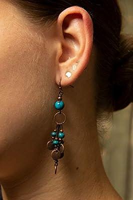 Boucles d'oreilles pendantes en regalite et breloque cuivre EFW03